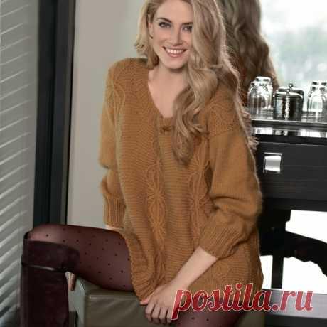 Уютный длинный пуловер