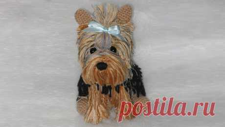 Description of a knitted toy hook: Yorkshire terrier