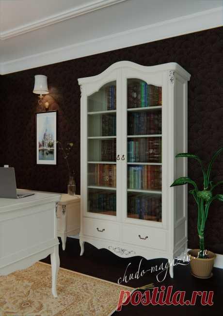 Шкаф библиотека белый