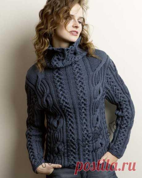 Женский свитер с косами схемы - Хитсовет Женский свитер с косами схемы. Модная модель женского свитера с косами с бесплатным описанием и схемами вязания. Вам потребуется: 750 (800, 850, 900) грамм пряжи оттенка джинс LANG YARNS ZERO