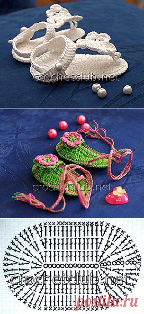 Пинетки-босоножки крючком - Вязание Крючком. Блог Настика
