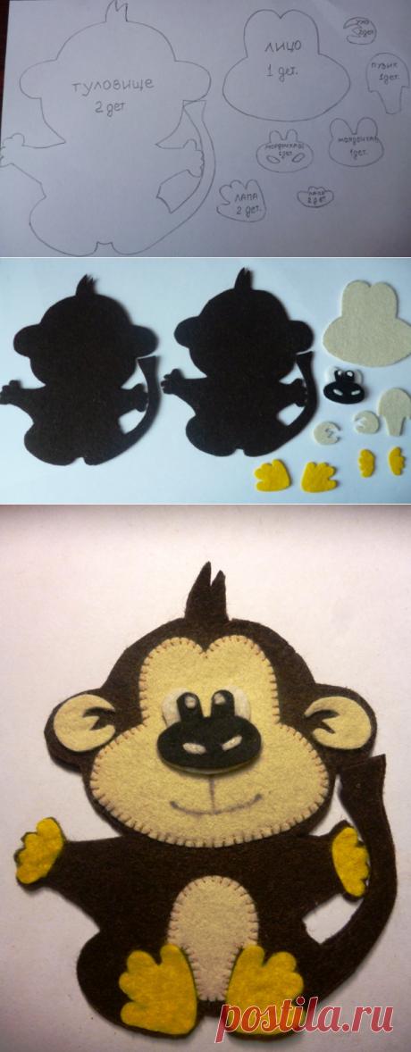 Озорная обезьянка из фетра