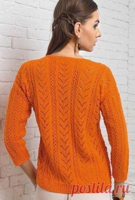 Оранжевая кофточка спицами