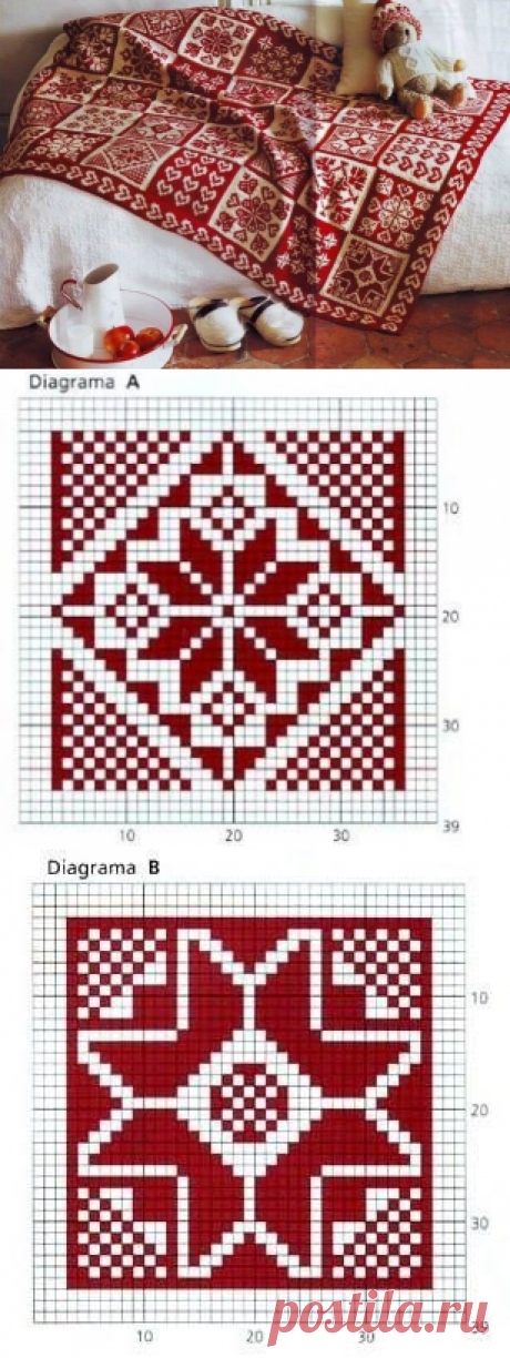 Bright plaid from the squares connected by bichromatic ornaments — Needlework