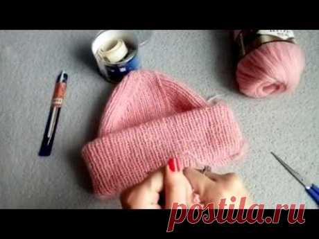 Вязаная шапка с красивой макушкой...Вязание спицами...