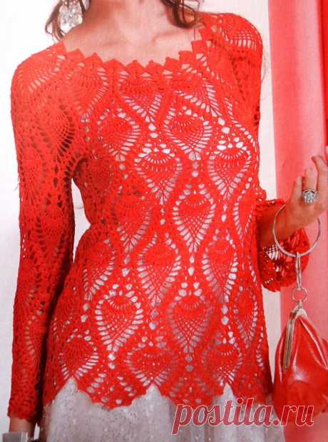 Красная кофточка с ананасами крючком | 38 рукоделок | Яндекс Дзен