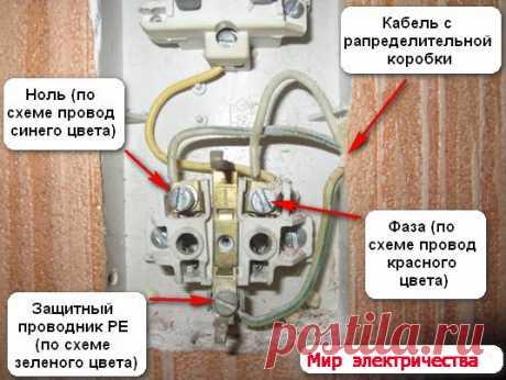 Блок с розеткой и выключателем - подключение