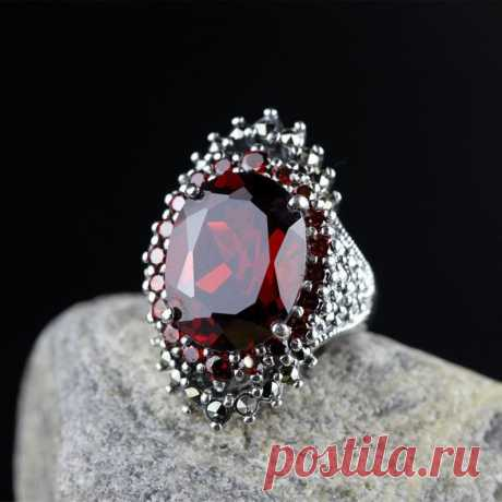 Red Natural Garnet Ring-925 Silver Wedding Ellipse   Etsy