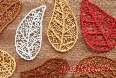Скелетированные листики из ниток (мастер класс) Модная одежда и дизайн интерьера своими руками