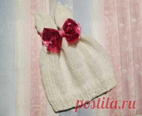 Забавная и милая шапка-зайка спицами » «Хомяк55» - всё о вязании спицами и крючком