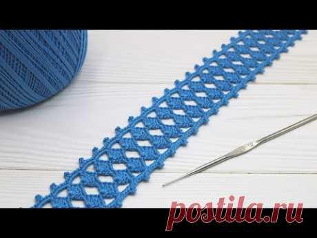 Простое ЛЕНТОЧНОЕ КРУЖЕВО вязание крючком МАСТЕР-КЛАСС для начинающих   Crochet Ribbon Lace Border