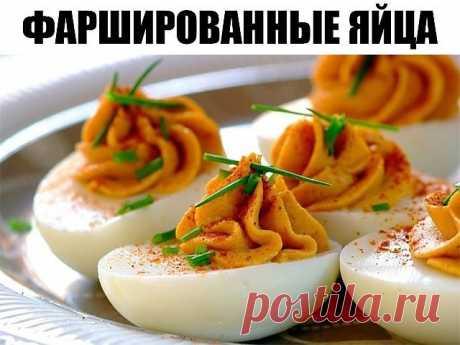 Фаршированные яйца 25 вариантов для начинки: 1. Обжарьте мелко порезанный лук и смешайте с желтком. 2. Твердый сыр с чесноком, майонезом и желтком. 3. Желток с мелко порезанными маслинами или оливками и майонезом. 4. Красная или черная икра. Уже без желтка. 5. Сыр на мелкой терке, грецкие орехи плюс майонез и чеснок. Украсить половинками грецкого ореха. 6. Тунец или сайра с маслинами. 7. Креветки с желтком. Сверху – по целой вареной креветке. 8. Желток, майонез, горчица, с...