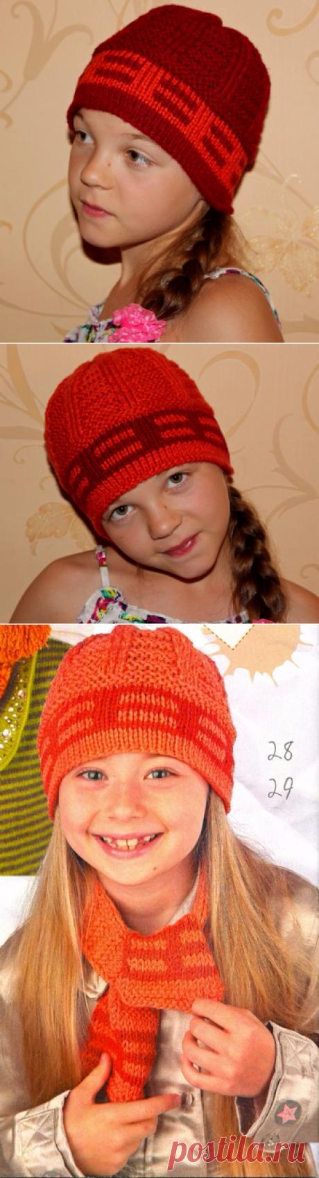 Двухцветные шапочки для девочки.Мои вязалки