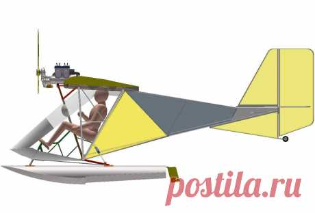 Проект самолетика весом до 115 кг. Вид сбоку.