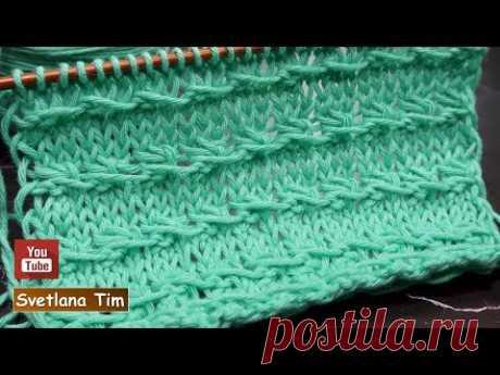 Простые УЗОРЫ СПИЦАМИ Горизонтальные Рельефные Полосочки / светлана тим вязание # 733
