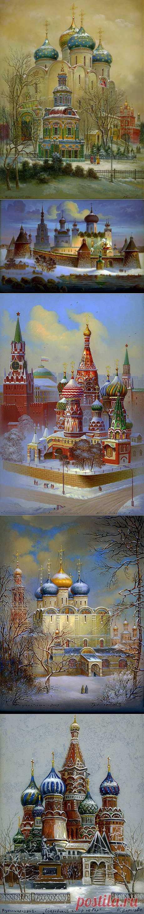 Федоскинская миниатюра - Купола России.