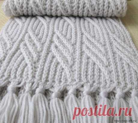 Вяжем шикарный шарф спицами + 3 узора спицами для шарфа  Шарф *Иней*                 источник