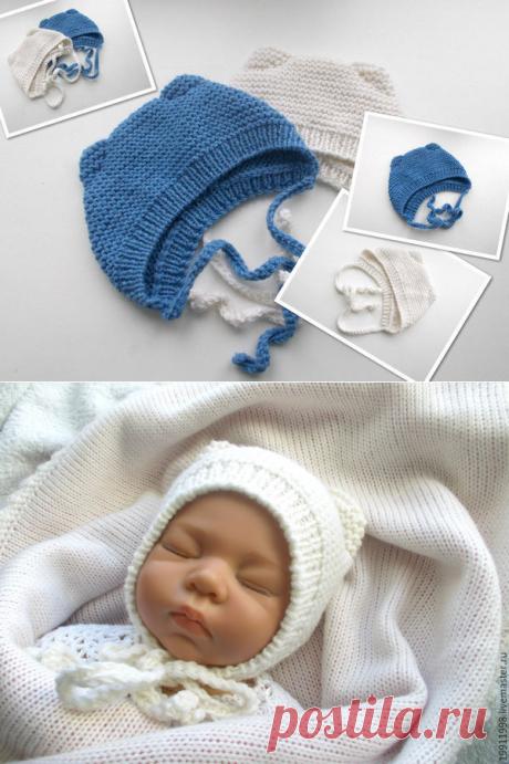 Видео мастер-класс: вяжем шапочку с ушками для новорожденного малыша | Журнал Ярмарки Мастеров