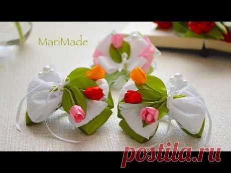 Тюльпаны Резинки Брошь Канзаши Цветы из Ленты Tulips Hair Bows