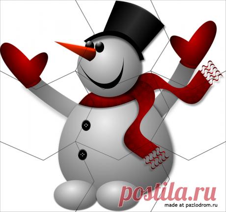 Разрезная картинка Снеговик