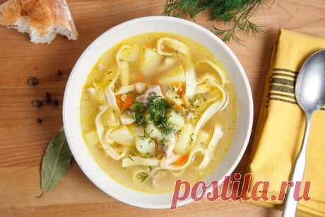 Куриный суп с домашней лапшой — Sloosh – кулинарные рецепты