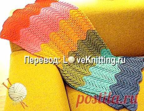 Радужный плед  Перед вами настоящая радуга! Достоинства этой модели с сайта loopknits.com не только в простом рисунке, но и в смене цветов пряжи.Размер:84 см х 99 смВАМ ПОНАДОБИТСЯ  по 100 г синей, голубой, оранж…