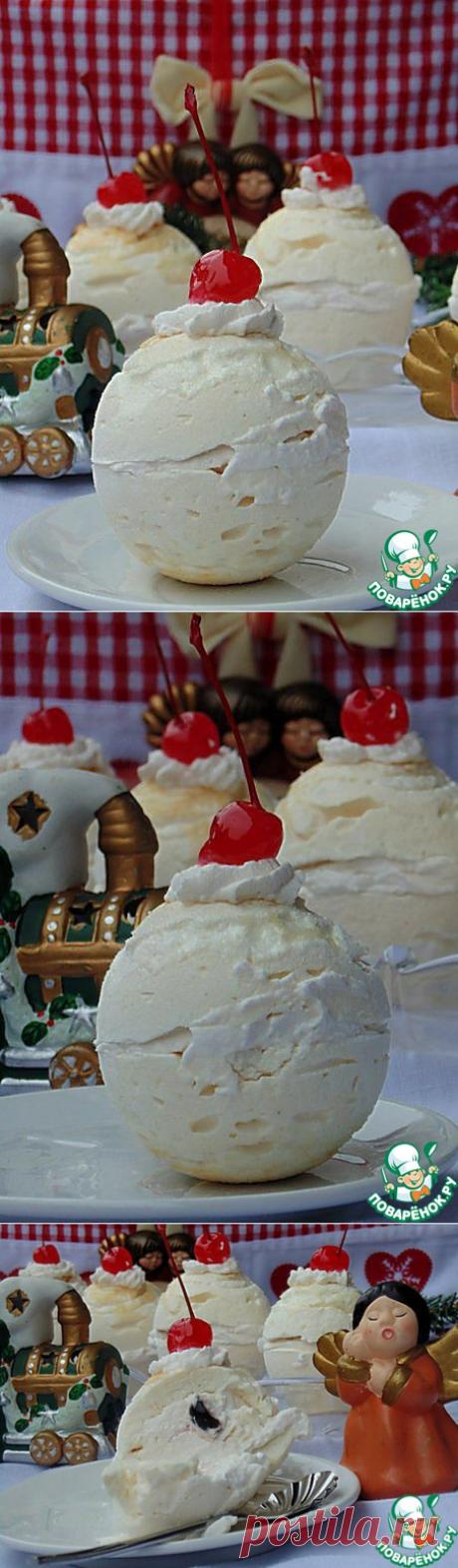 """Безе с вишней """"Снежный шар"""" - кулинарный рецепт"""