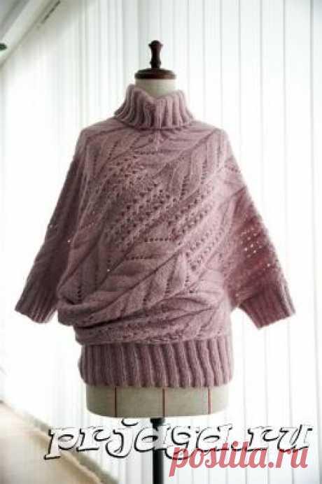 «Неожиданный силуэт» свитер спицами