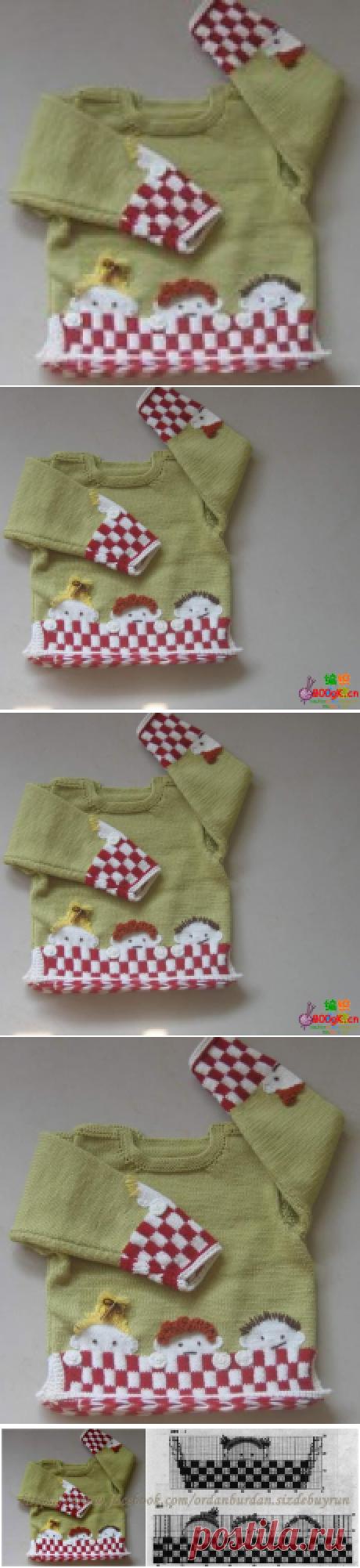 Красивый детский пуловер с рисунком