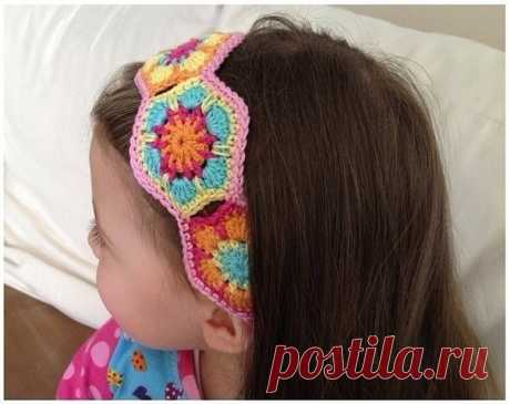 Симпатичная повязка на голову, вяжем из мотивов из категории Интересные идеи – Вязаные идеи, идеи для вязания