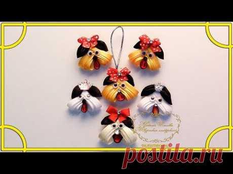 Маленькая собачка-брошь.Канзаши.МК /  Little dog-brooch.Kanzashi.MK