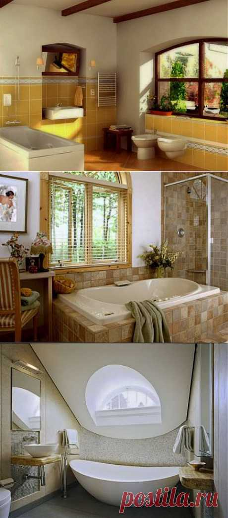 Окно в ванной как прекрасное дополнение дизайна помещения
