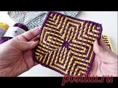 "Granny Square ""Optische Illusionen"" Mosaikhäkeln Muster"