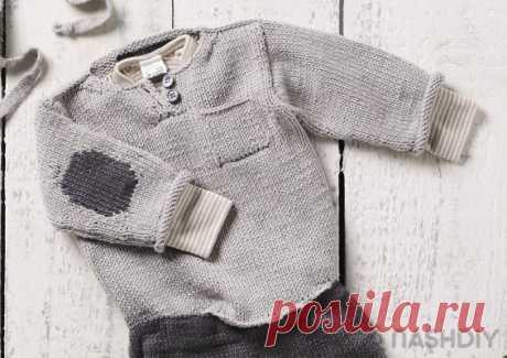 Вязаный пуловер с заплатками спицами для малышей