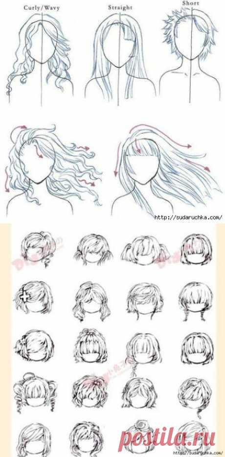 """""""Рисуем волосы и прически"""". Уроки рисования.."""