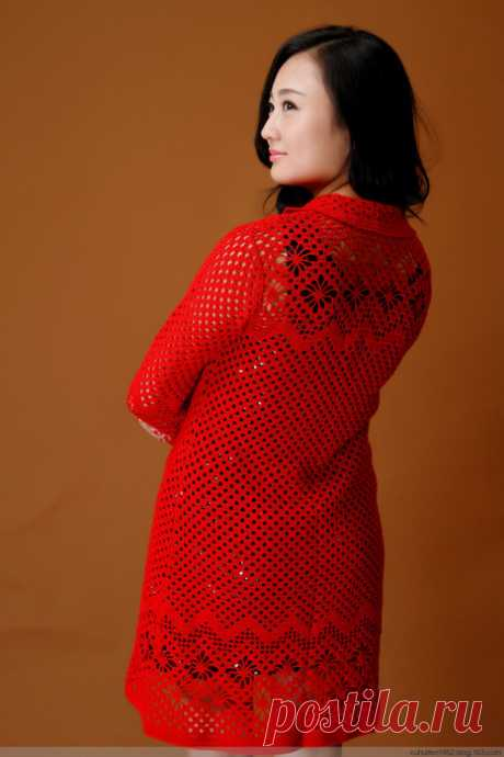 """Cardigan a pattern \""""spiders\"""" from the Chinese websites. Knitting by a model hook with schemes 
