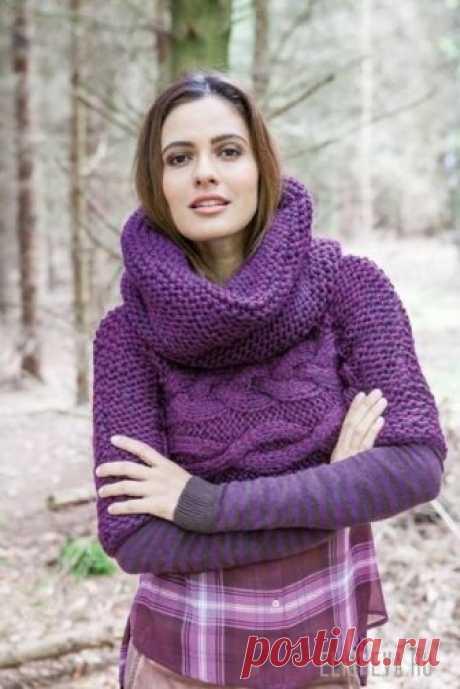 """Укороченный пуловер с воротником-трансформером """"Хомут и капюшоном 2в1"""", вязаный спицами"""