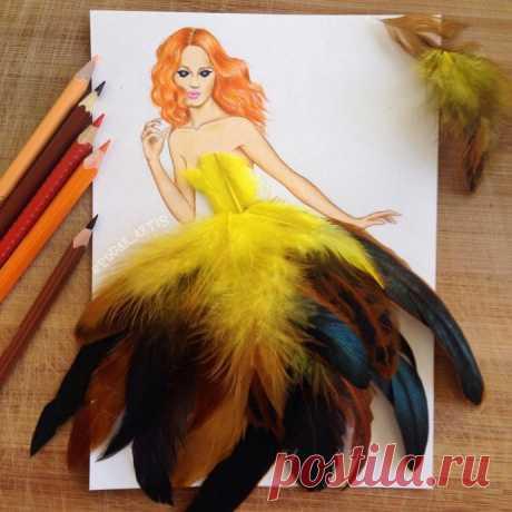 Интересные рисунки-поделки с использованием перьев
