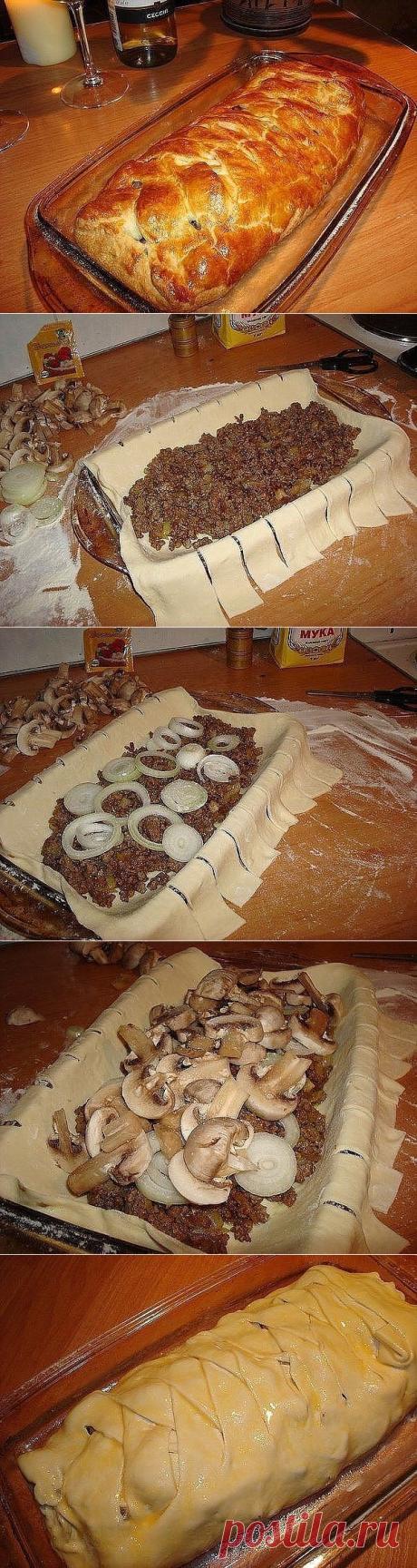 Быстрый мясной пирог с грибами » В сети – себя просвети! - Развлекательный портал!