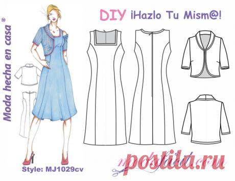 Descarga el Patrón del Vestido con Chaqueta Torera Modafacil DIY