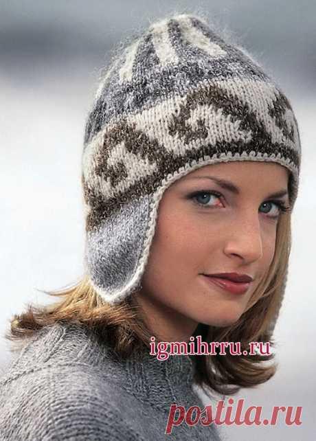 Жаккардовая шапочка с ушками. Вязание спицами