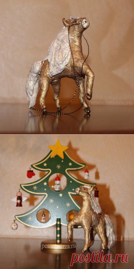Винтажные украшения на ёлку: лошадка, обезьянка из ваты