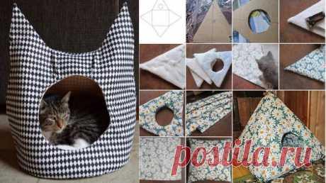 Как сшить домик для кошки: выкройки, список материалов +Видео