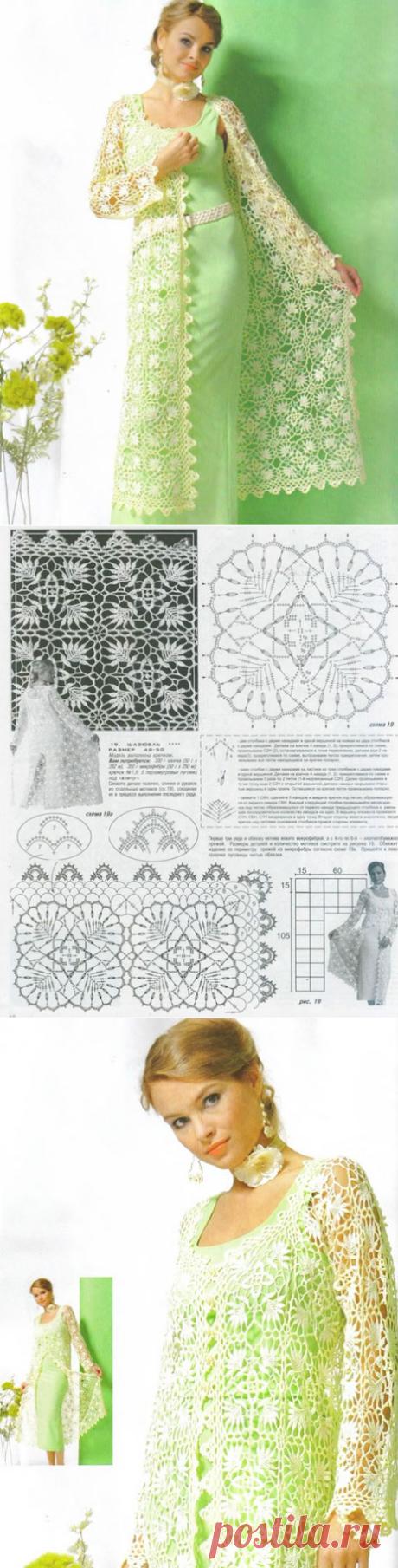 Кружевной шазюбль или кардиган в пол для женщин крючком – схемы вязания с описанием