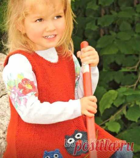 Детский сарафан с аппликацией «совы» схема » Люблю Вязать
