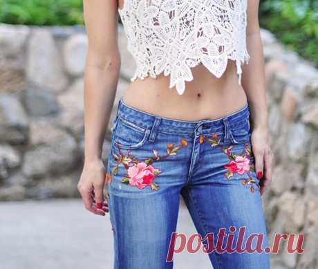 Как украсить джинсы вышивкой, если вы не умеете вышивать