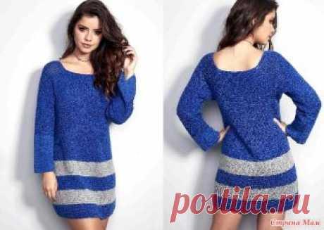 . Платье  Blue Glamour. Это изящное сине-серое платье с длинными рукавами вяжется очень просто и доступно даже начинающей мастерице. Платье вяжется от горловины единвм полотном.