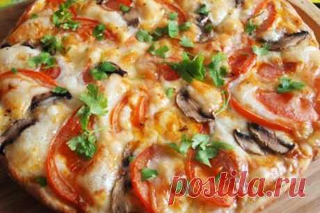 Сырная пицца с грибами и помидорами ⋆ Хозяюшка