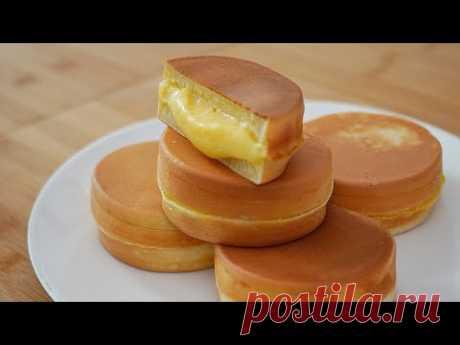 오븐없이! 기계없이! 쉽고 맛있는 커스터드 팬 빵 만들기 (Custard Cream Pancake)