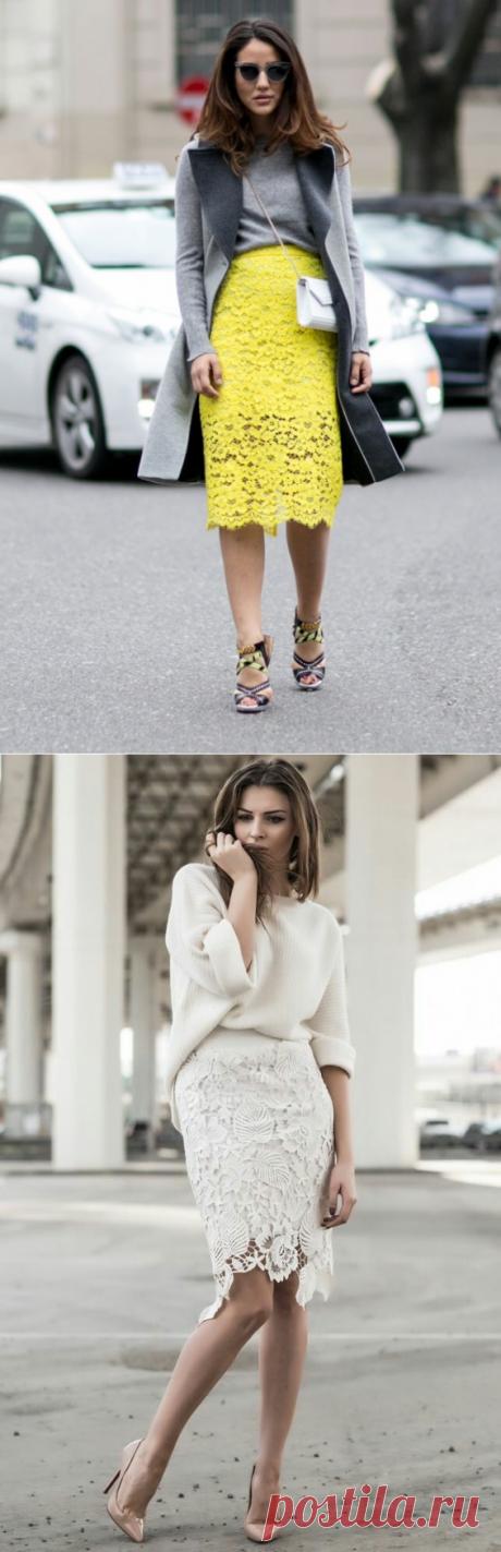 Идея для шоппинга: 15 женственных образов с кружевной юбкой — Модно / Nemodno